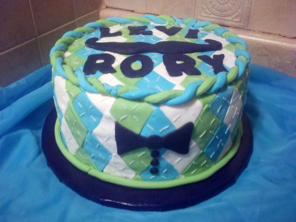 Argyle Baby Shower Bowtie Mustache Cake