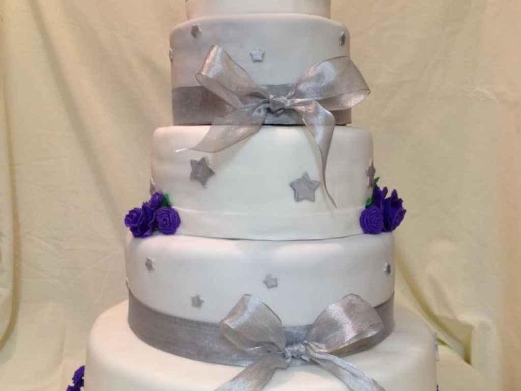 Purple Rose And Silver Star Quince Cake - CakeCentral.com