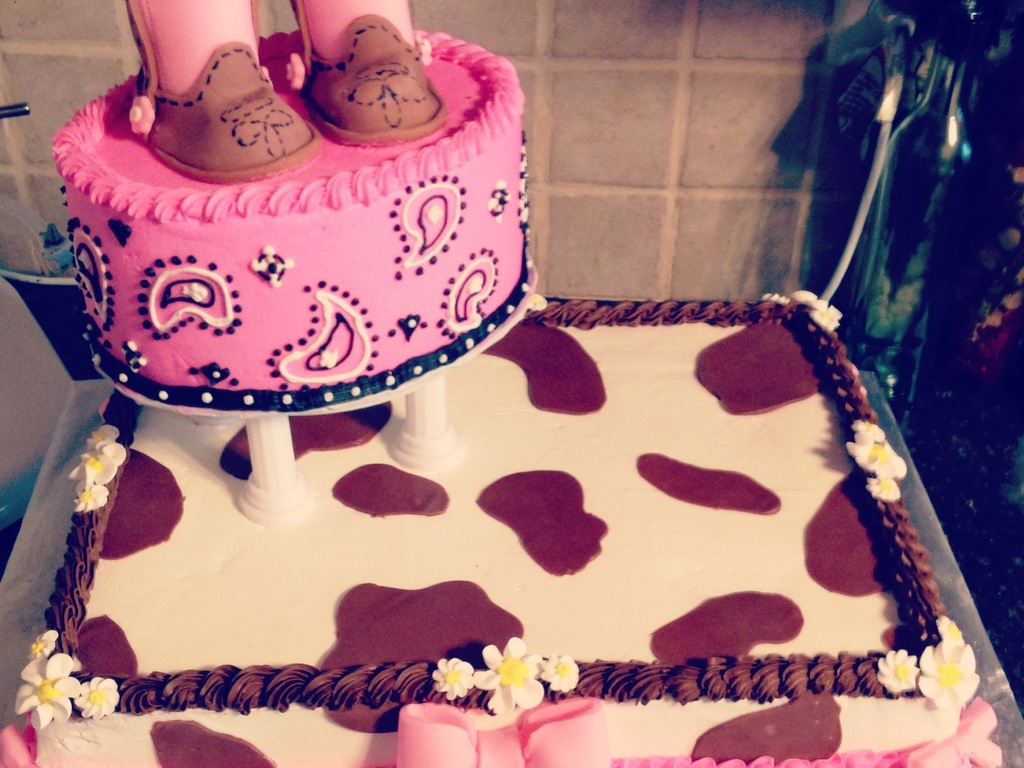 Cowgirl Baby Shower Cake Buttercream And Fondant Decorations