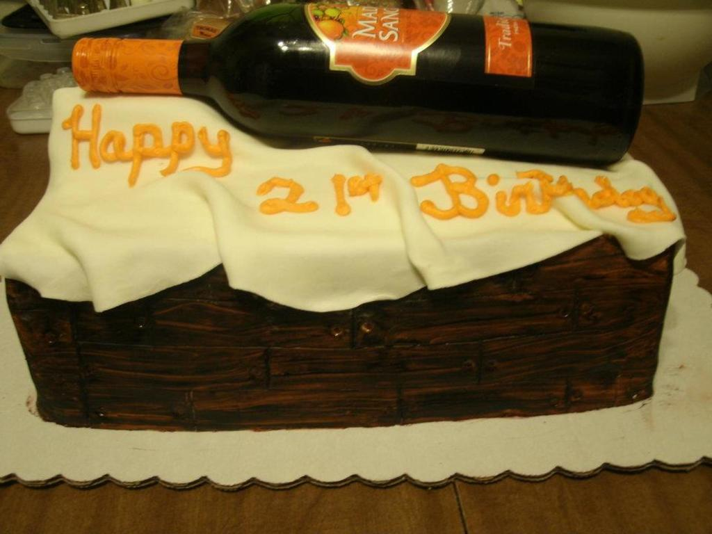 St Birthday Cake With A Real Bottle Of Wine CakeCentralcom - Real birthday cake images