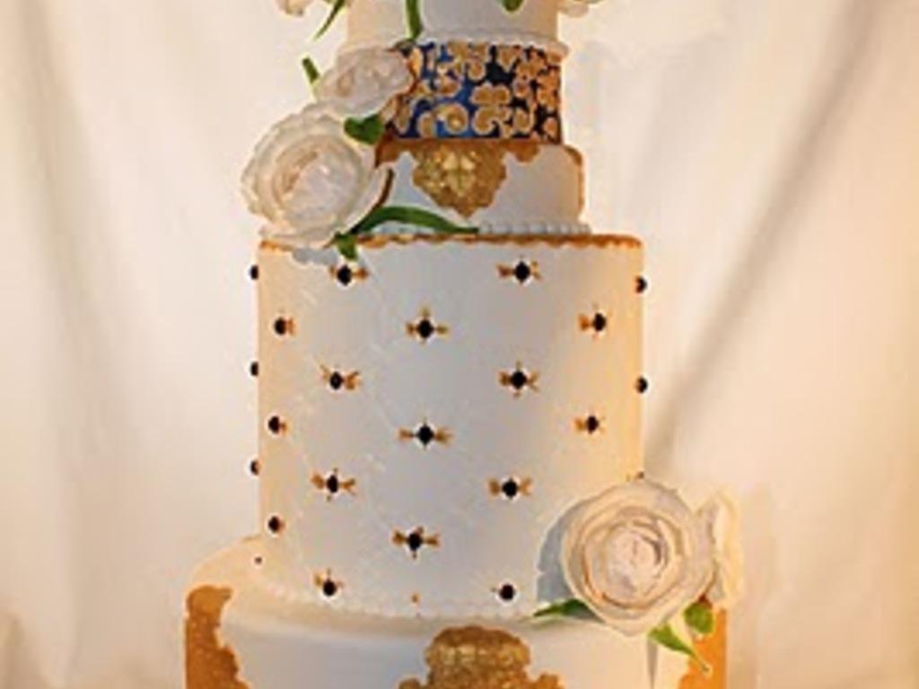 Elegant Royal Blue And Gold Wedding Cake Cakecentralcom