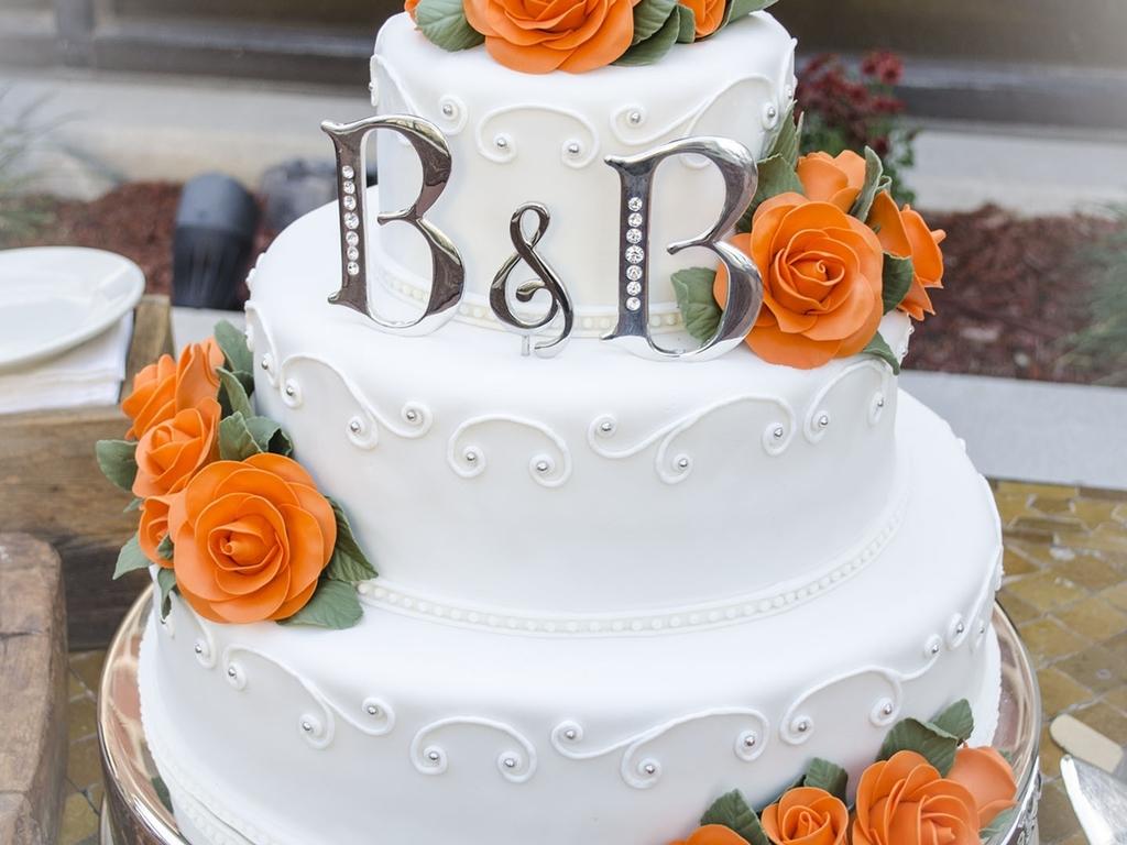 Orange Roses - Fall Wedding Cake - CakeCentral.com