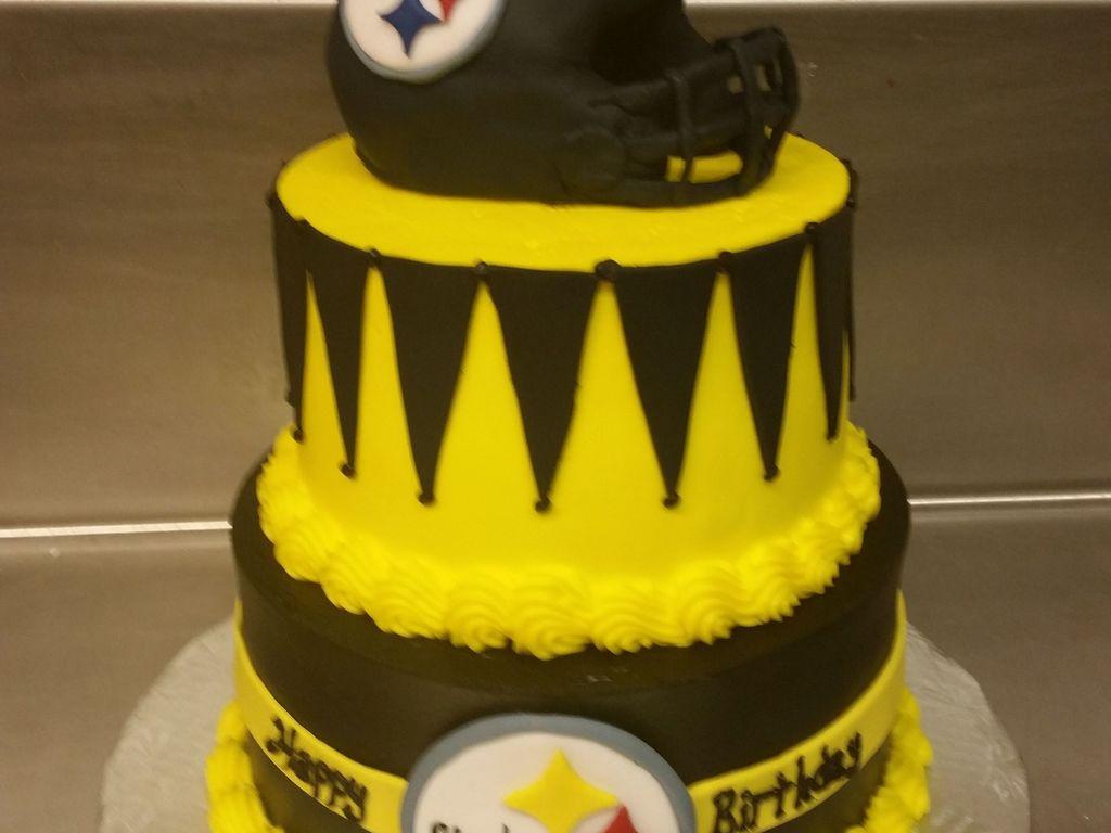 Steelers Birthday Cake Fondant Covered Rice Krispie Helmet The