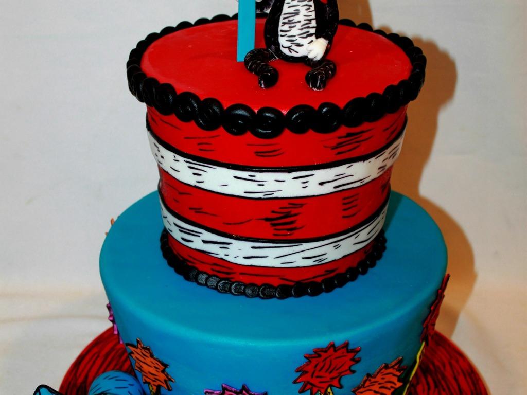 Swell Birthday Ideas Cat In The Hat 1St Birthday Cake Funny Birthday Cards Online Elaedamsfinfo