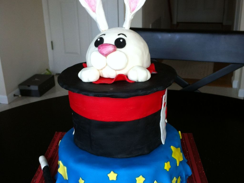 My Friends Son Was Having A Magic Themed Birthday Party He Wanted A Rabbit Coming Out Of A Hat For His Cake So This Is What I Made Him Cakecentral Com