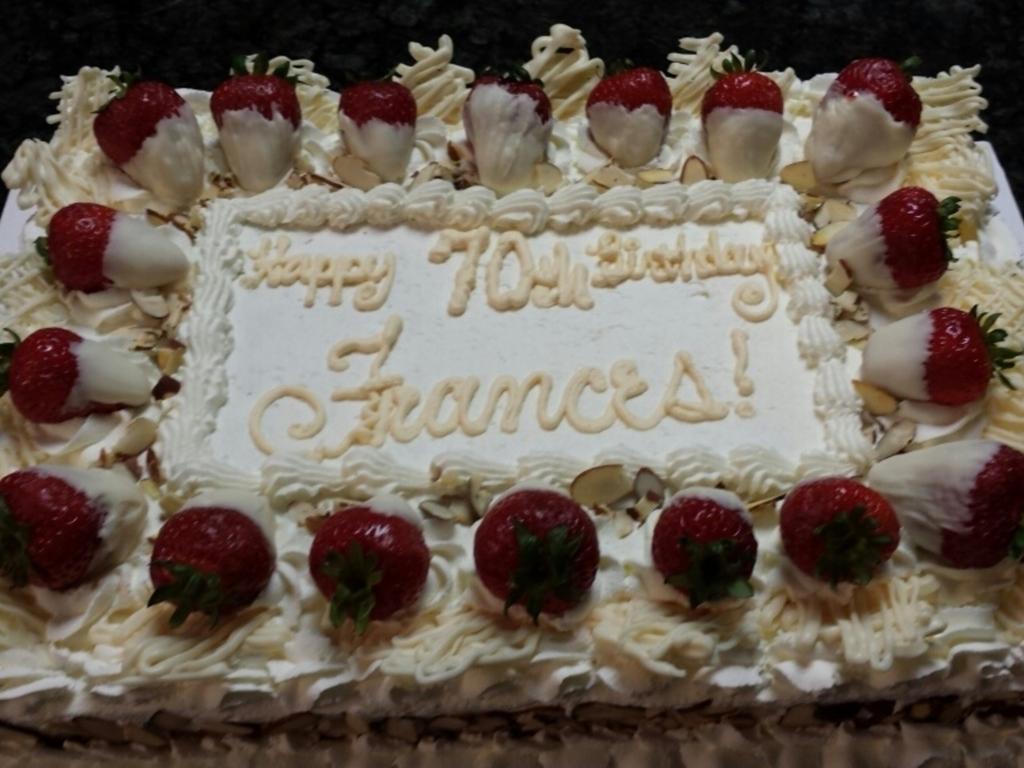 70Th Birthday Almond Cake Almond Whipped Cream Frosting White ...
