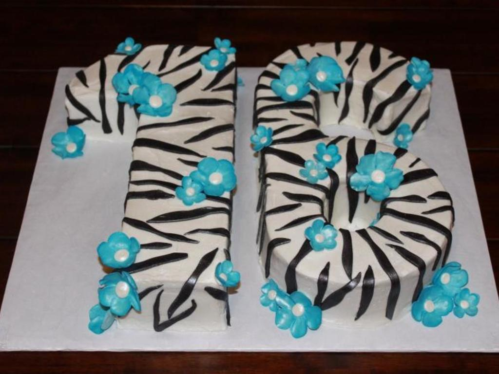 Zebra Blue Flowers Sweet  Birthday Cake CakeCentralcom - Sweet 16 birthday cakes