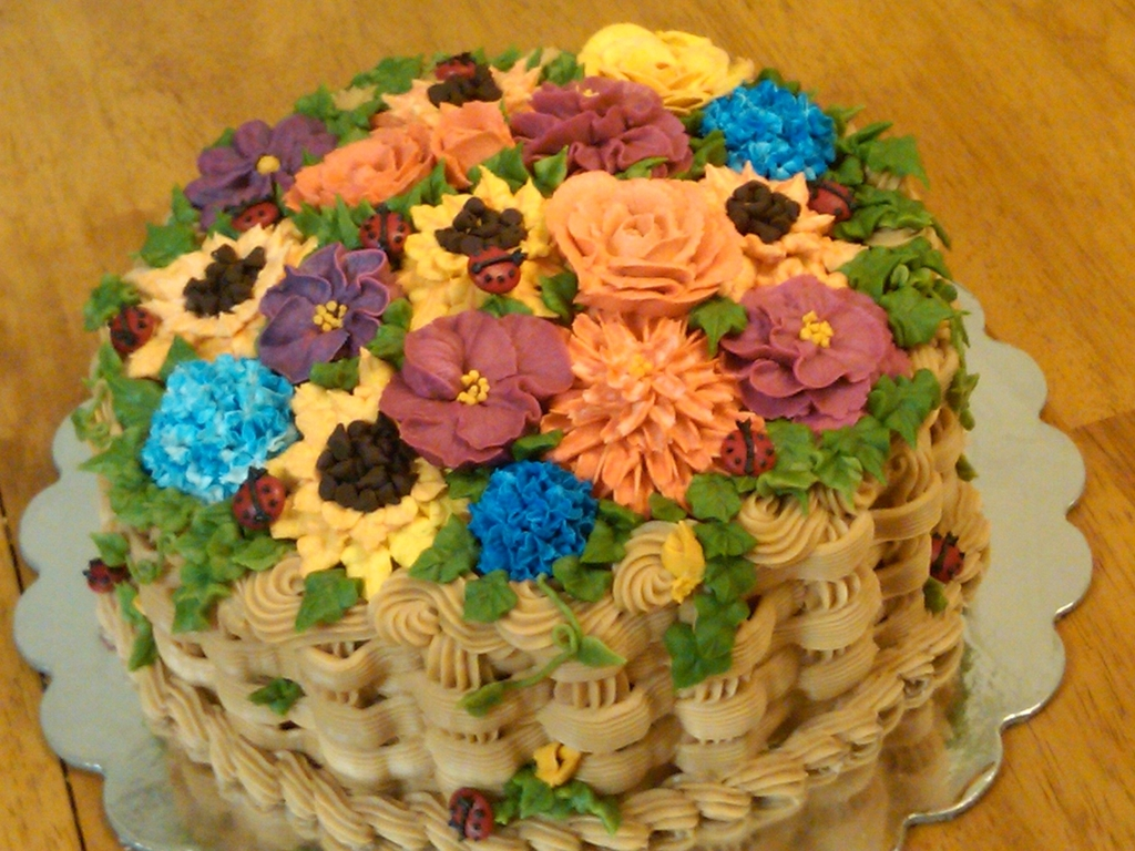 Birthday Basket Of Flowers Cakecentral