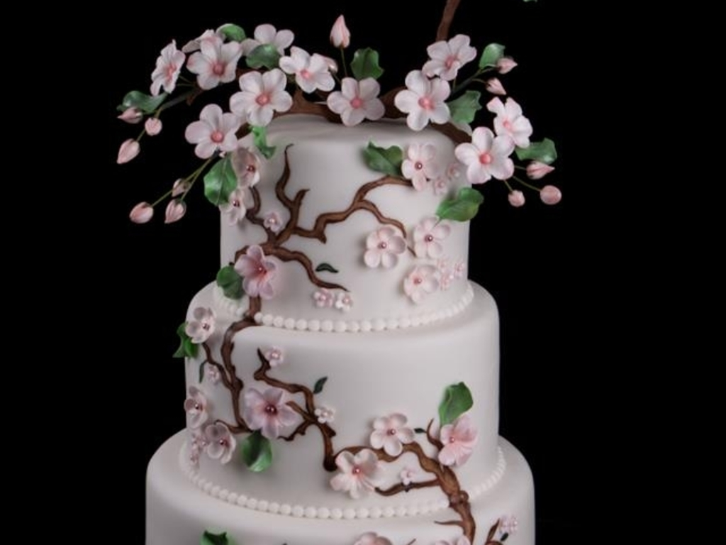 Asian Themed Cherry Blossom Wedding Cake - CakeCentral.com