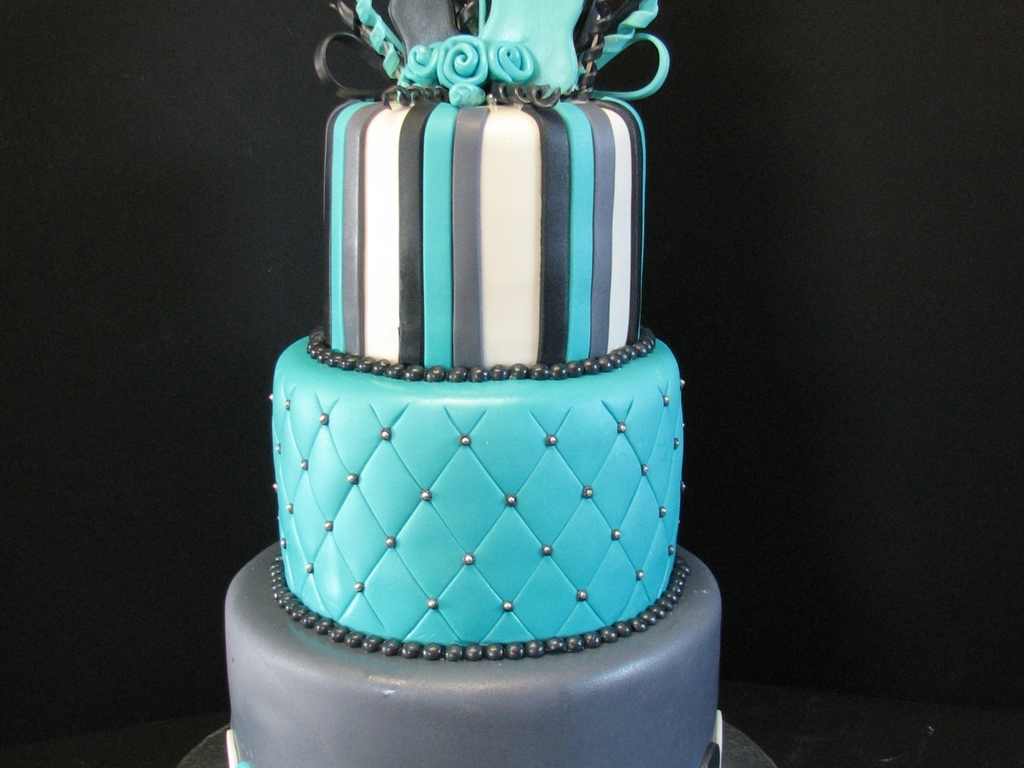 Teal Black And Gray Birthday Cake Cakecentral