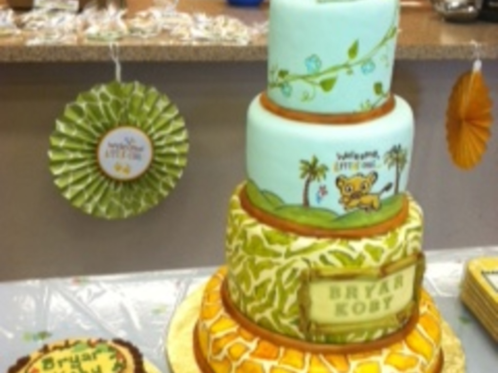 Hand Painted Lion King Baby Shower Cake Matching Decorated Lion - Lion King Wedding Cake
