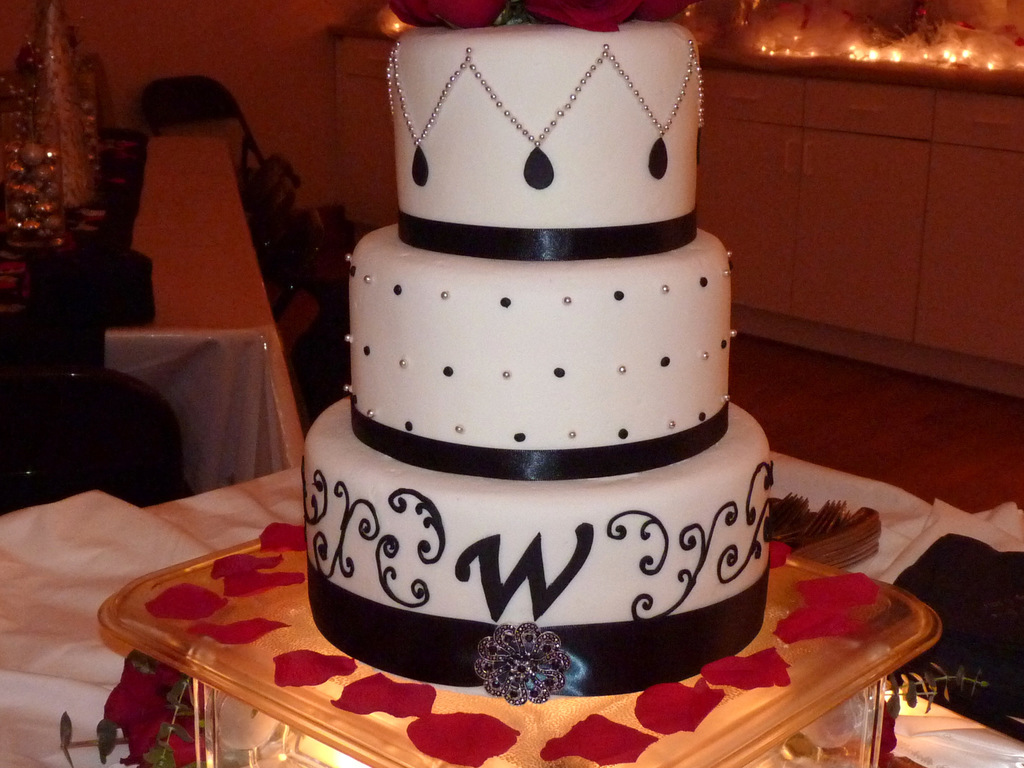 Black, White And Silver Wedding Cake - CakeCentral.com
