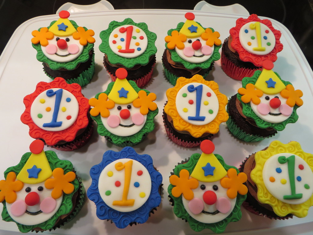 Clown And 1 Cupcake Toppers To Go With A Circus Theme Cake For My Grandsons First Birthday Thank You Looking