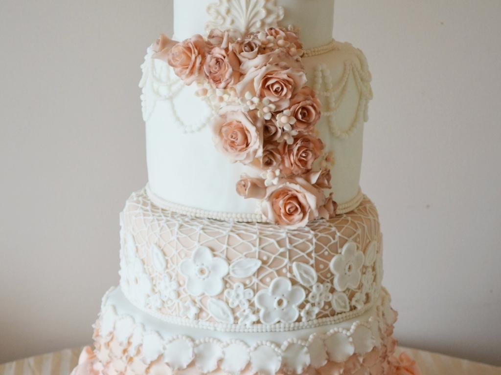 Peach And Cream Wedding Cake - CakeCentral.com