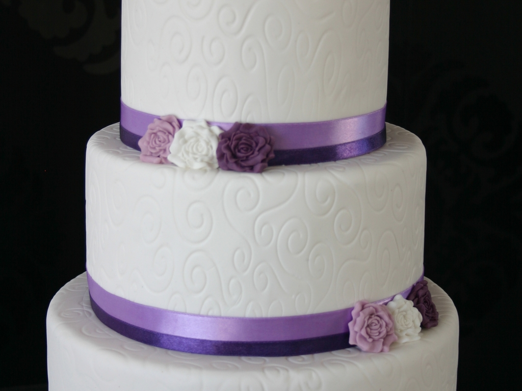 White Purple Wedding Cake - CakeCentral.com