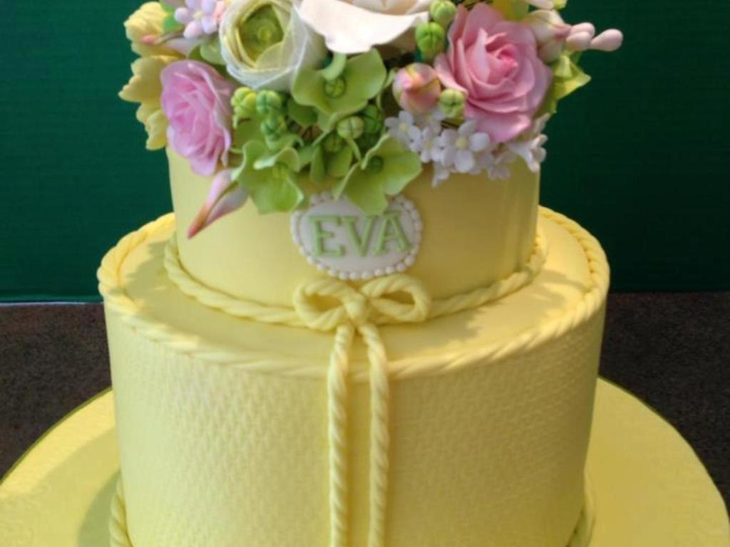Yellow 2 Tier 80Th Birthday Cake With Gumpaste Flowers