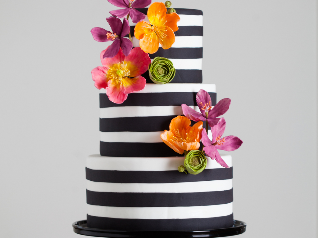 Black and white stripes with bright sugar flowers cakecentral dhlflorist Image collections