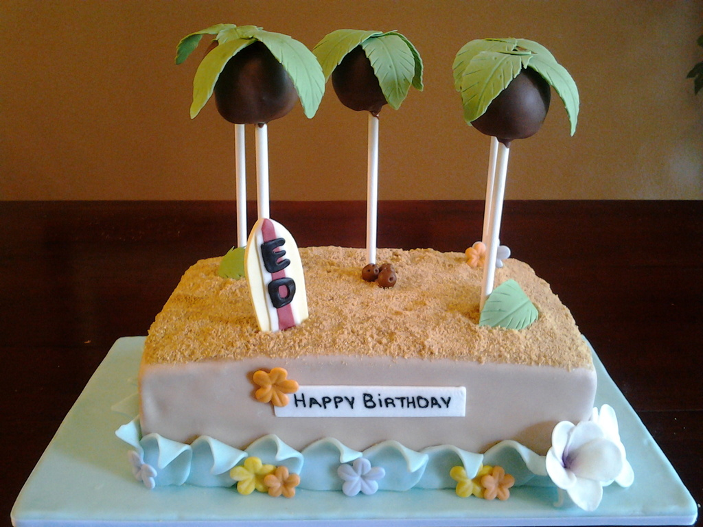 Hawaiian Themed Cake With Cake Pops Cakecentral