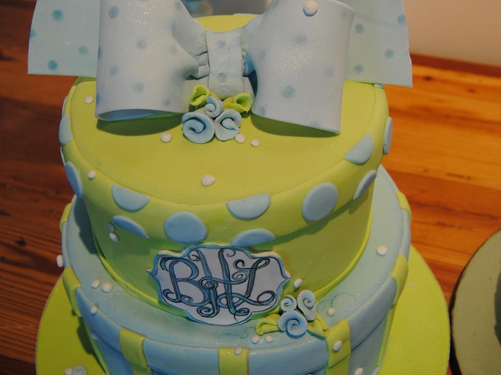 Lime Green Blue Baby Shower Cake Cakecentral Com