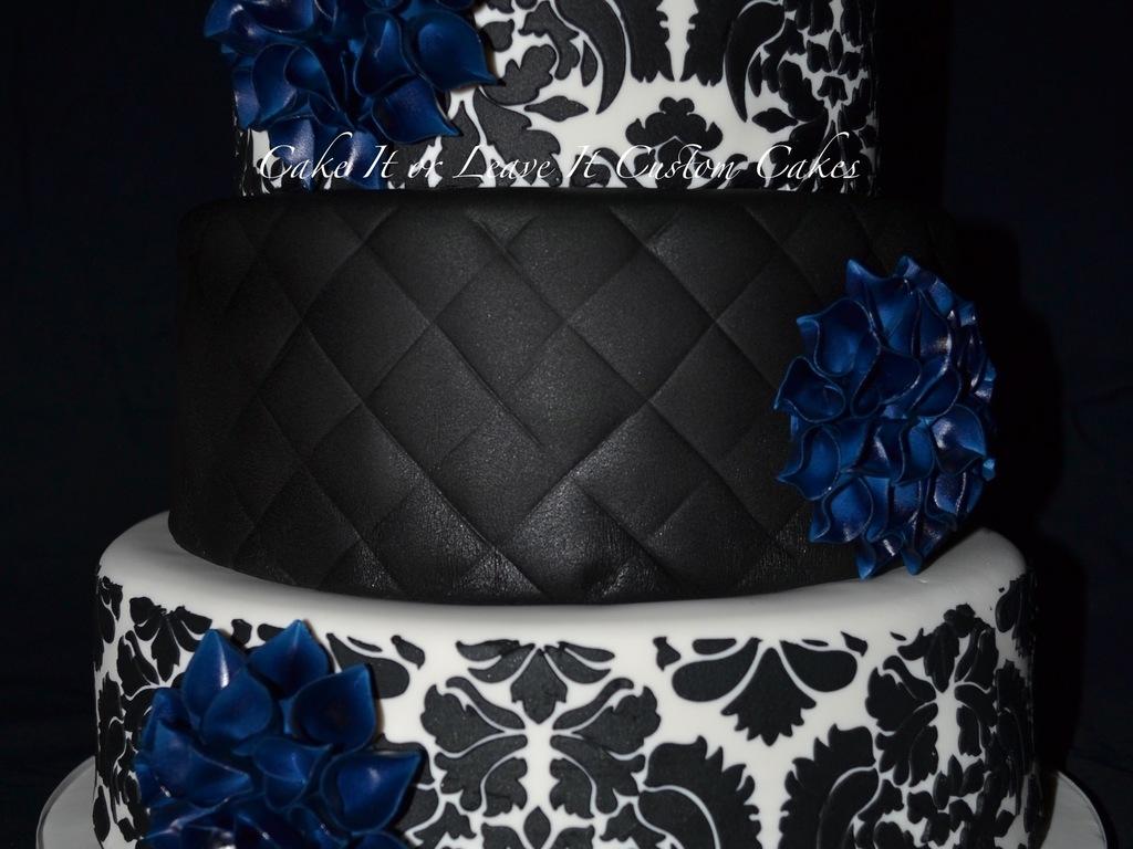 Navy And Black Wedding Cake With Dahlias - CakeCentral.com