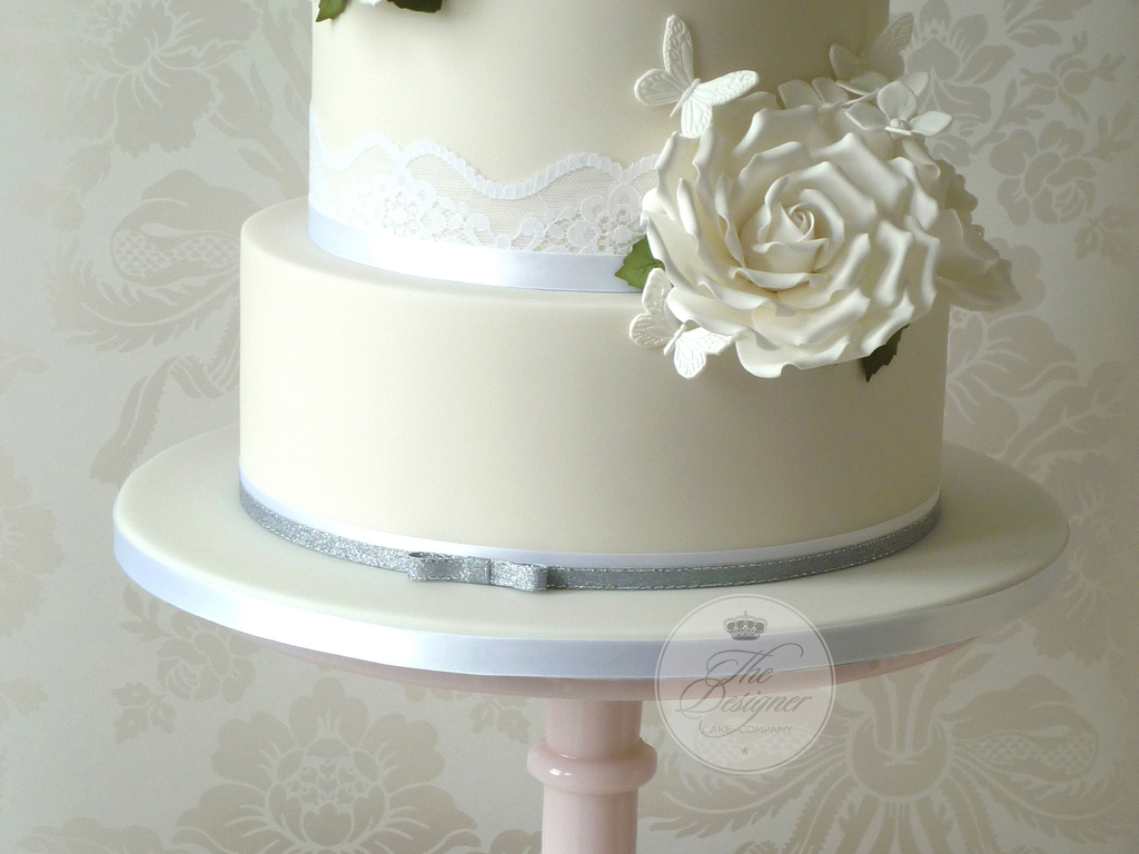 White Roses & Butterflies Wedding Cake - CakeCentral.com