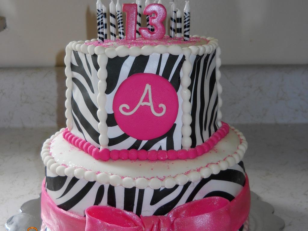 Hot Pink And Zebra 13Th Birthday Cake 8 Round Bottom 6 Hex Top