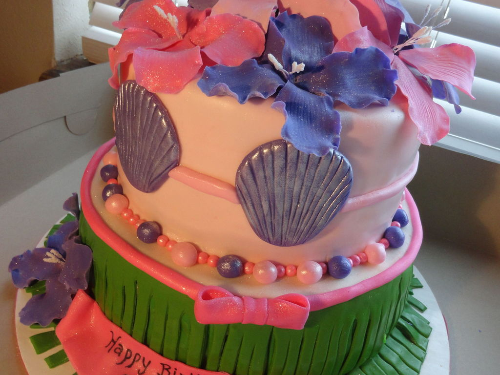 Hawaiian Birthday Cake Coconut With Cream Cheese Filling Covered In Mmf Flowers Made Out Of Gumpaste
