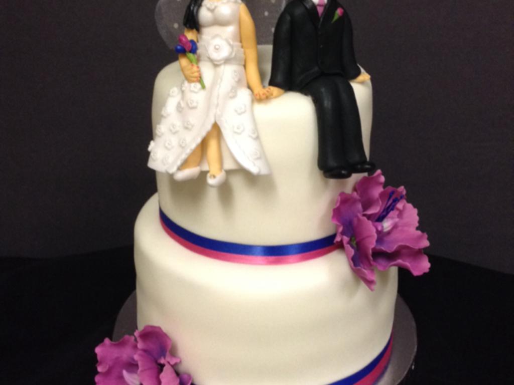 Fuschia Royal Blue Wedding Cake Cakecentral Com