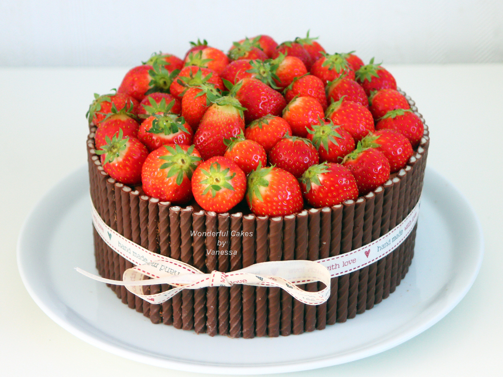 Strawberry Chocolate Bombdevil S Food Cake Filled With Chocolate ...