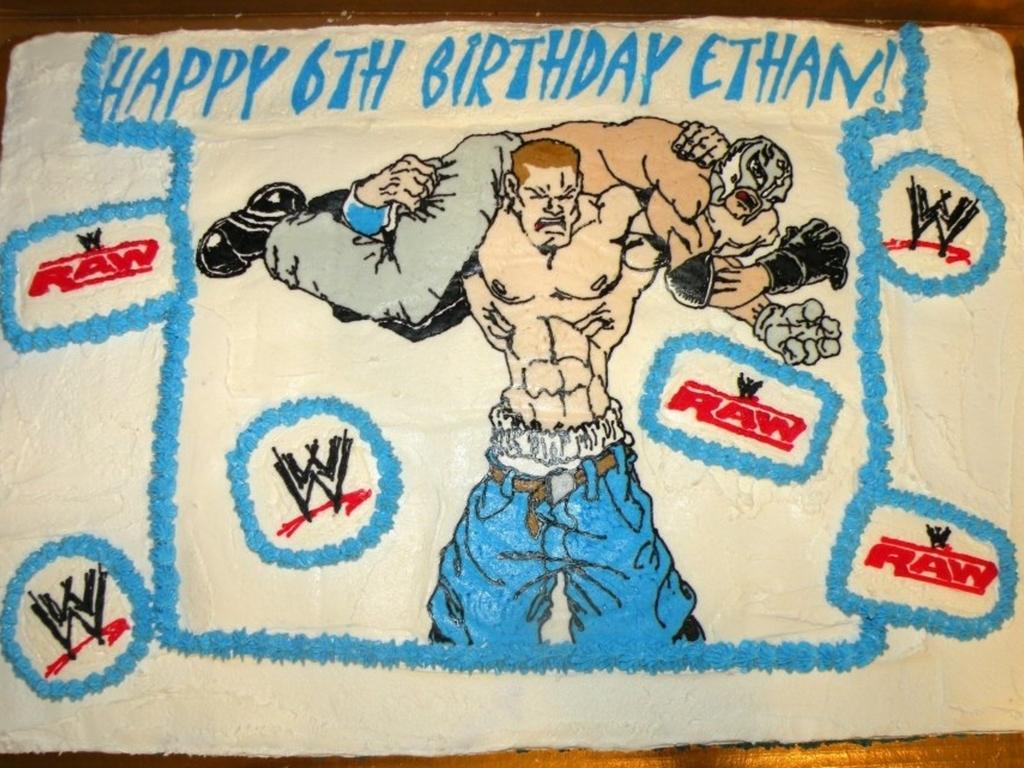 Super Wwe John Cena Rey Mysterio Cakecentral Com Personalised Birthday Cards Veneteletsinfo