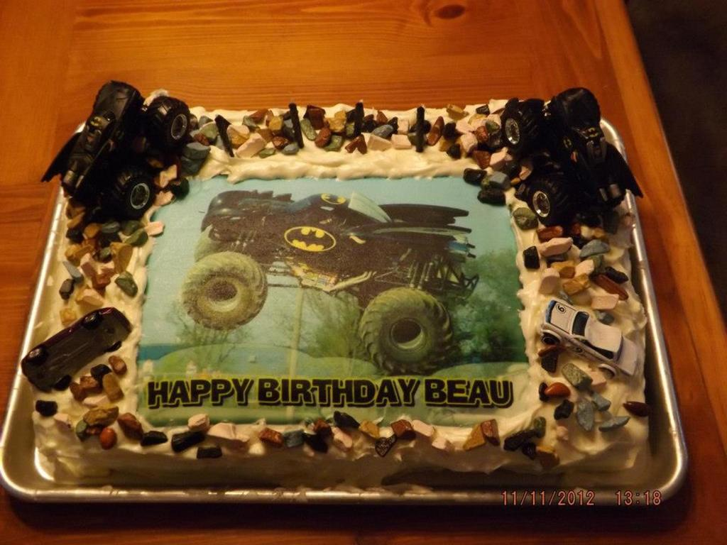 Terrific Batman Monster Jam Birthday Cake Cakecentral Com Funny Birthday Cards Online Elaedamsfinfo