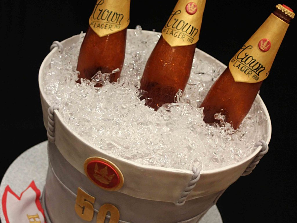 How to make ice for a beer bucket cake