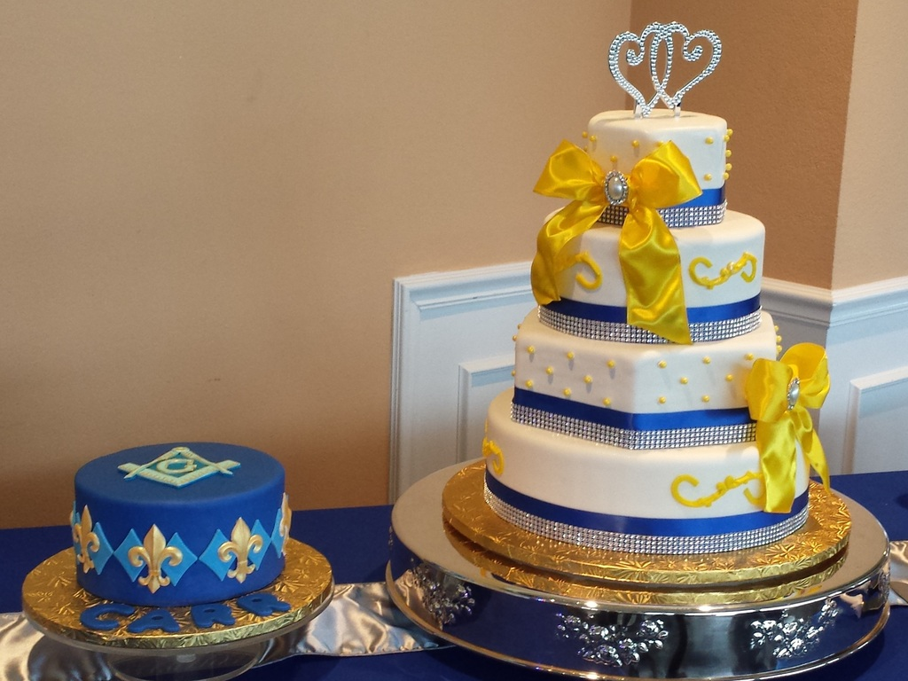 Royal Blue Yellow And White Wedding Cake With Grooms Cake