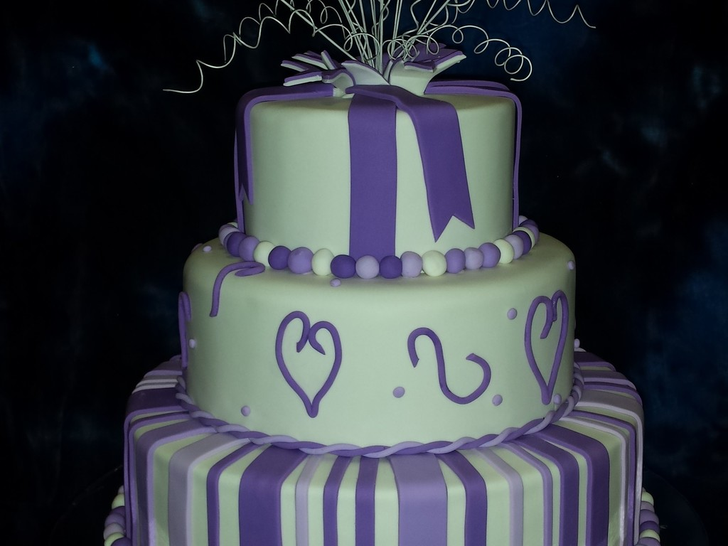 Purple And White 3 Tier 30Th Birthday Cake