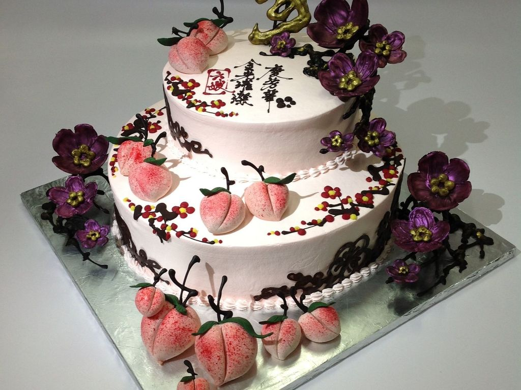 Chinese Birthday Cake With Cherry Blossom CakeCentralcom