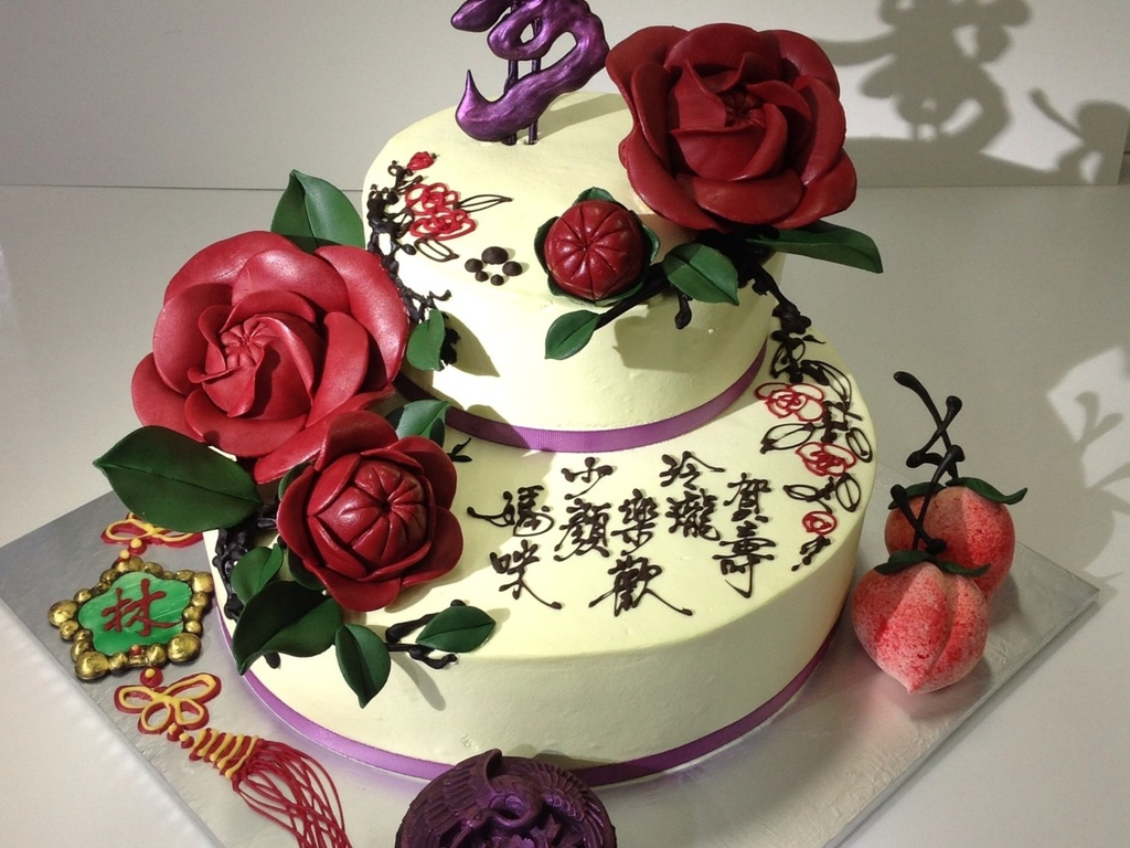 Chinese Style Birthday Cake With Camellias CakeCentralcom - Birthday cake chinese style