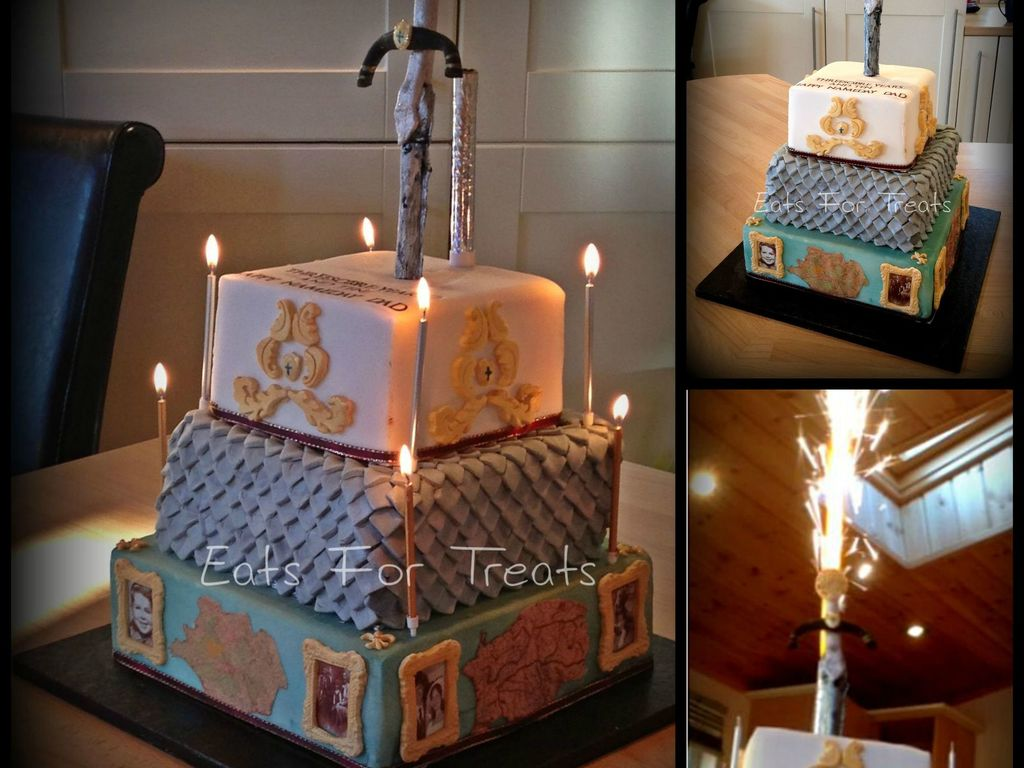 Surprising Medieval Themed Sponge Cake With Fireworks Cakecentral Com Funny Birthday Cards Online Overcheapnameinfo