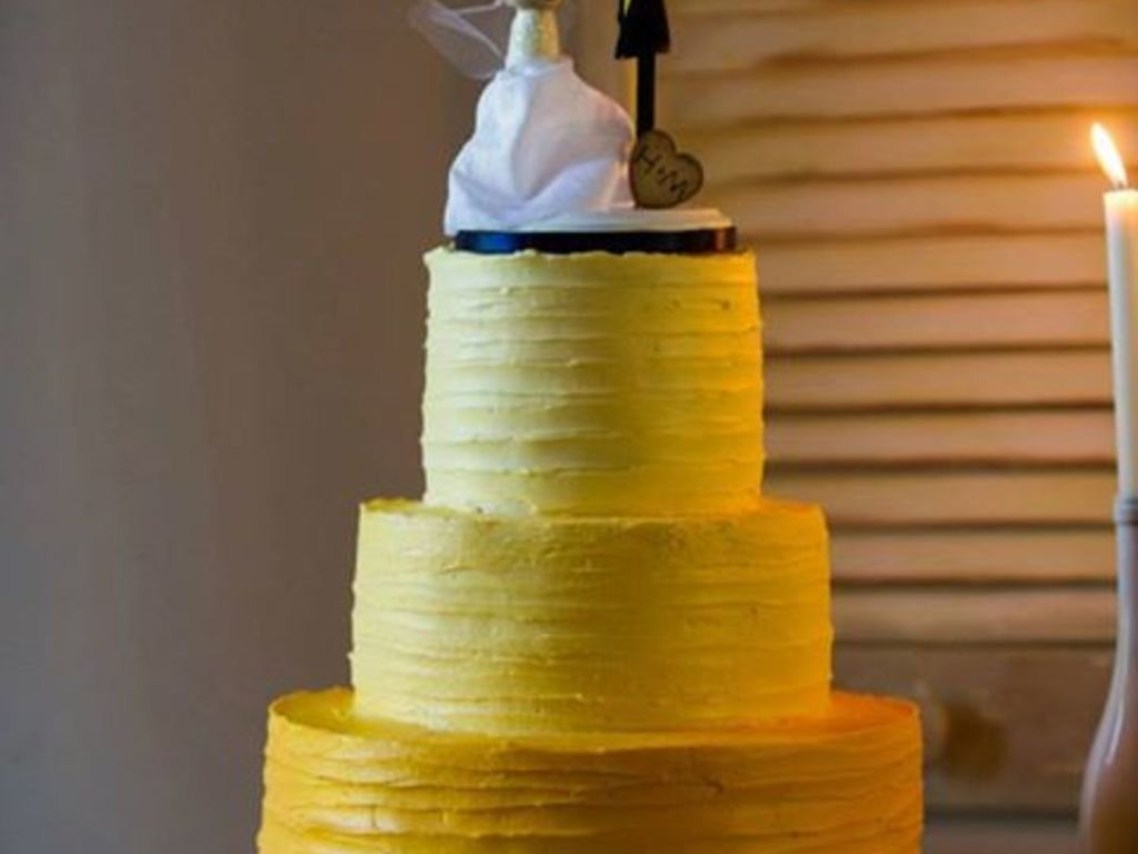 Yellow Ombre Wedding Cake With Textured Buttercream - CakeCentral.com
