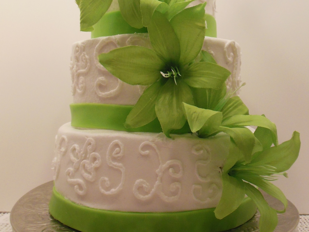 lime green and white wedding cake cakecentral com