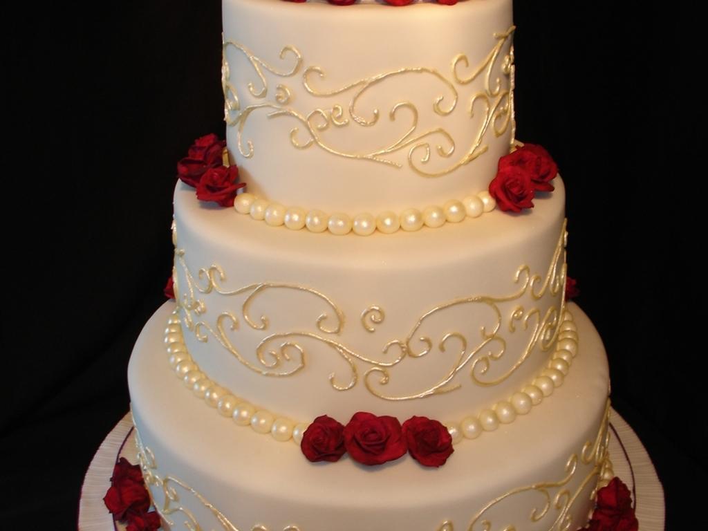 Cream And Plum Wedding Cake - CakeCentral.com