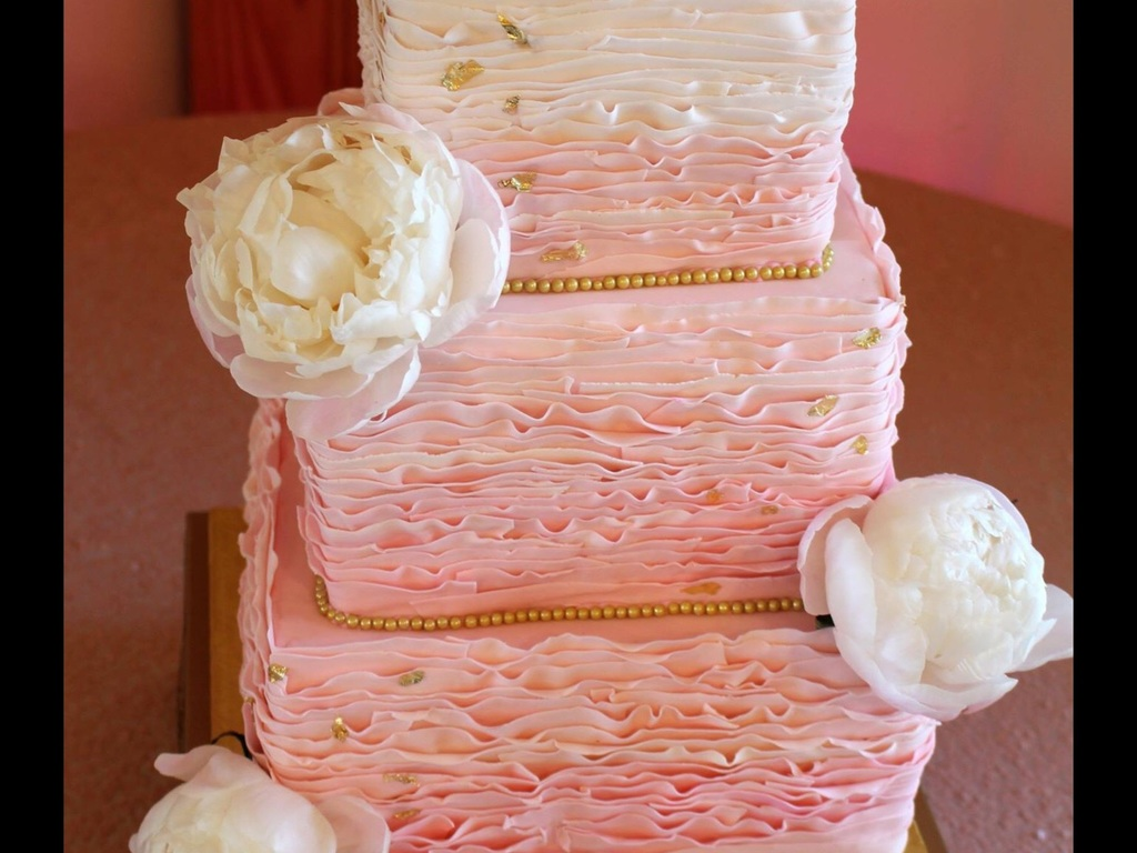 Three Tier Square Wedding Cake With Ombre Blush Ruffles, Edible Gold ...