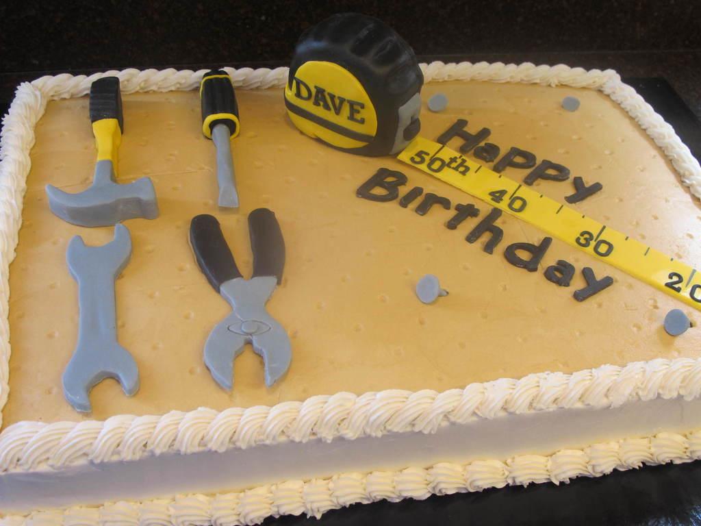 Tool 50Th Birthday Cake 12 Vanilla With Fondant Tools