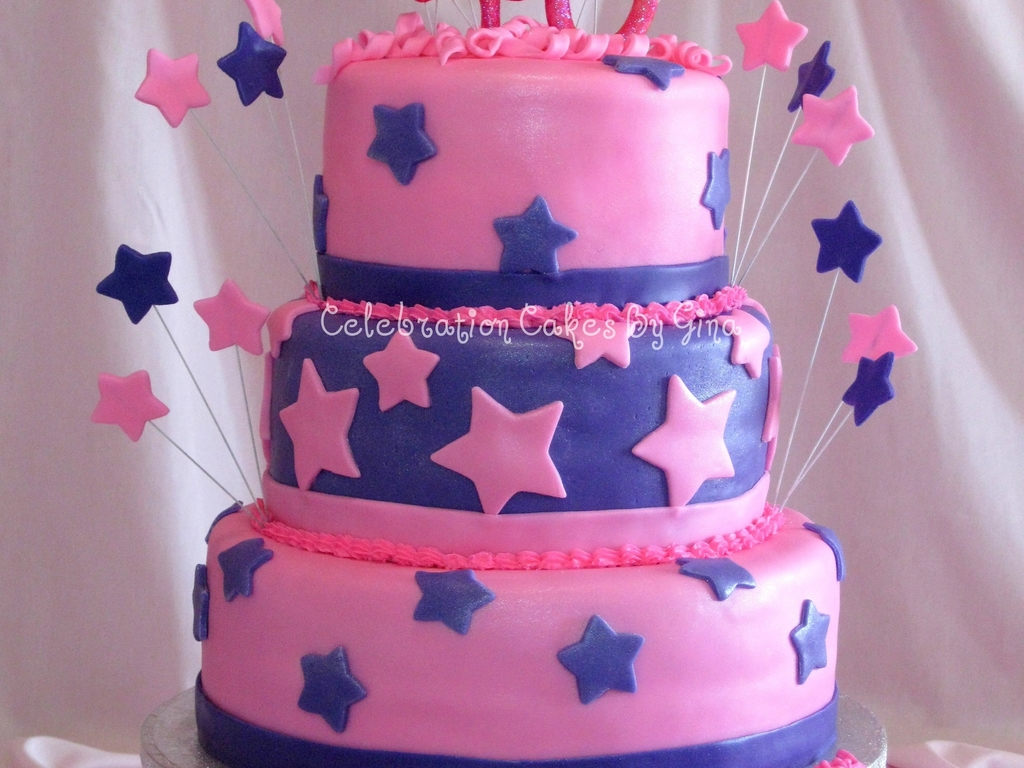 Pink Blue 40Th Birthday Cake