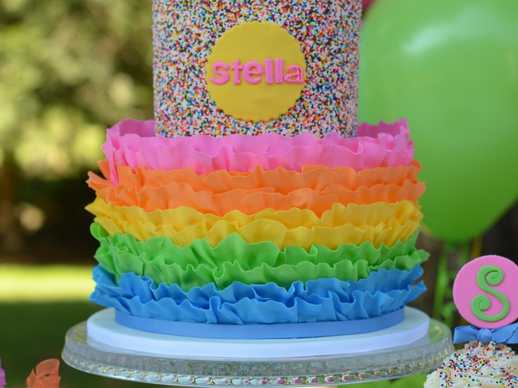 Rainbow Ruffle And Sprinkles Cake It Is On The Inside As Well