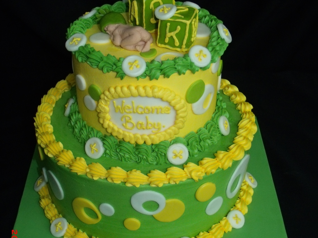 Lime Green And Yellow Baby Shower Cake Cakecentral