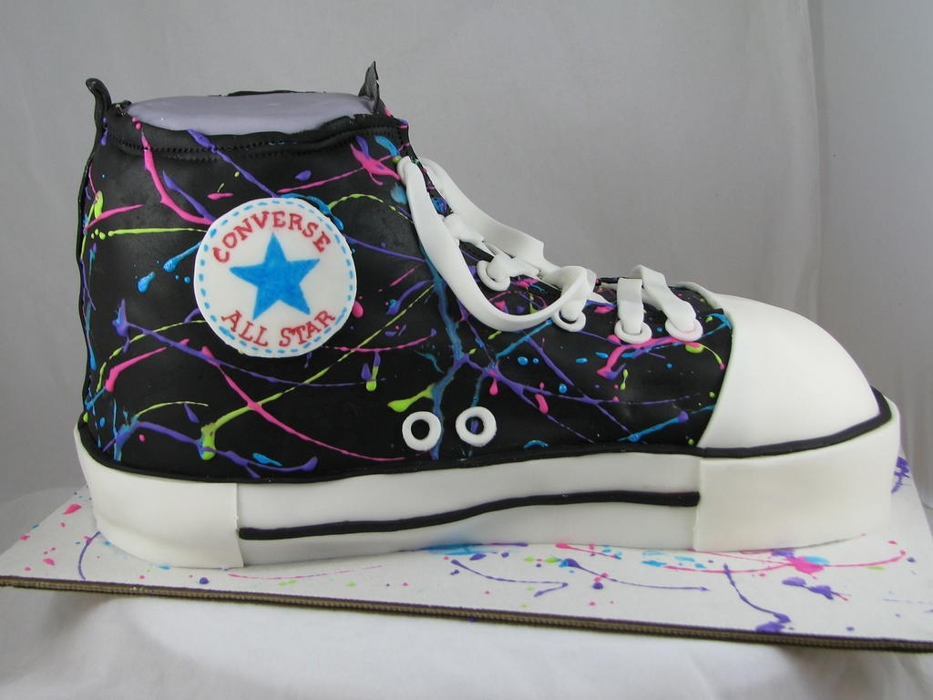 50868f883a109b Splatter Converse Shoe Cake - CakeCentral.com