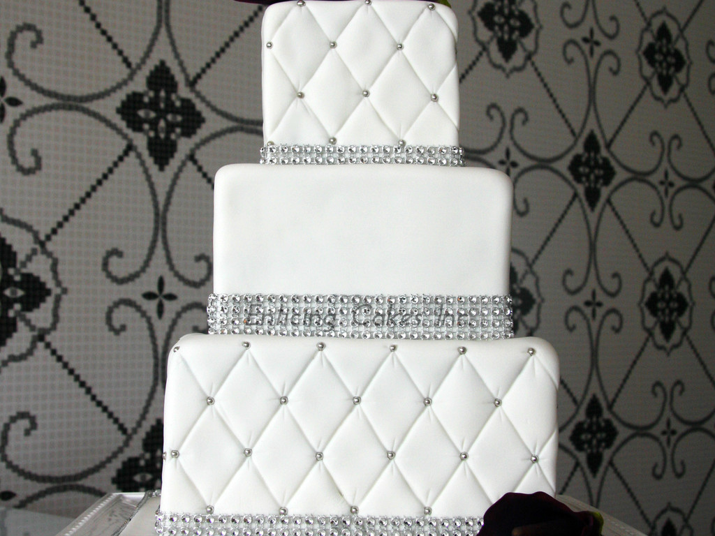 Quilted Bling Wedding Cake - CakeCentral.com
