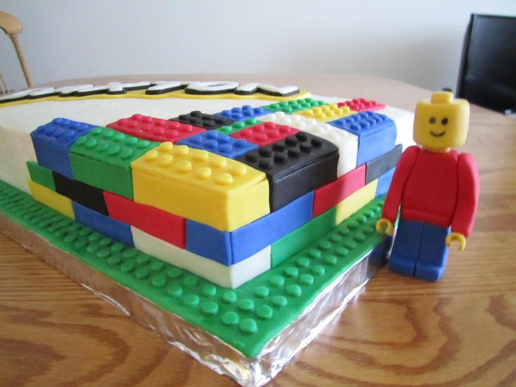 Birthday Cake For A 3 Year Old Boy Chocolate With White Buttercream Lego Man And Blocks Are Made From Fondant His Name Was Done T