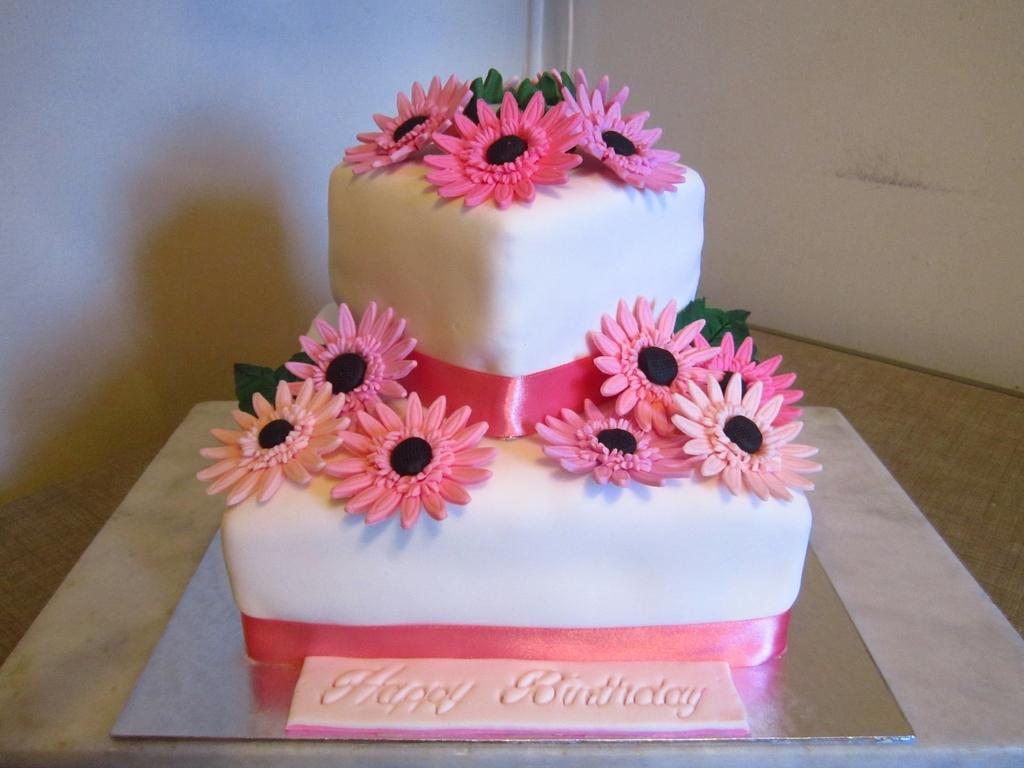 Two Tier Gerbera Cake CakeCentralcom