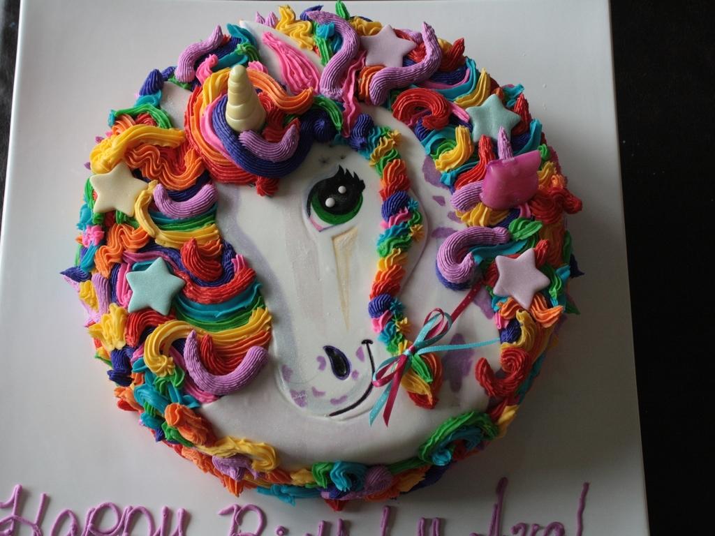 Sensational Lisa Frank Inspired Unicorn Cake Cakecentral Com Funny Birthday Cards Online Alyptdamsfinfo